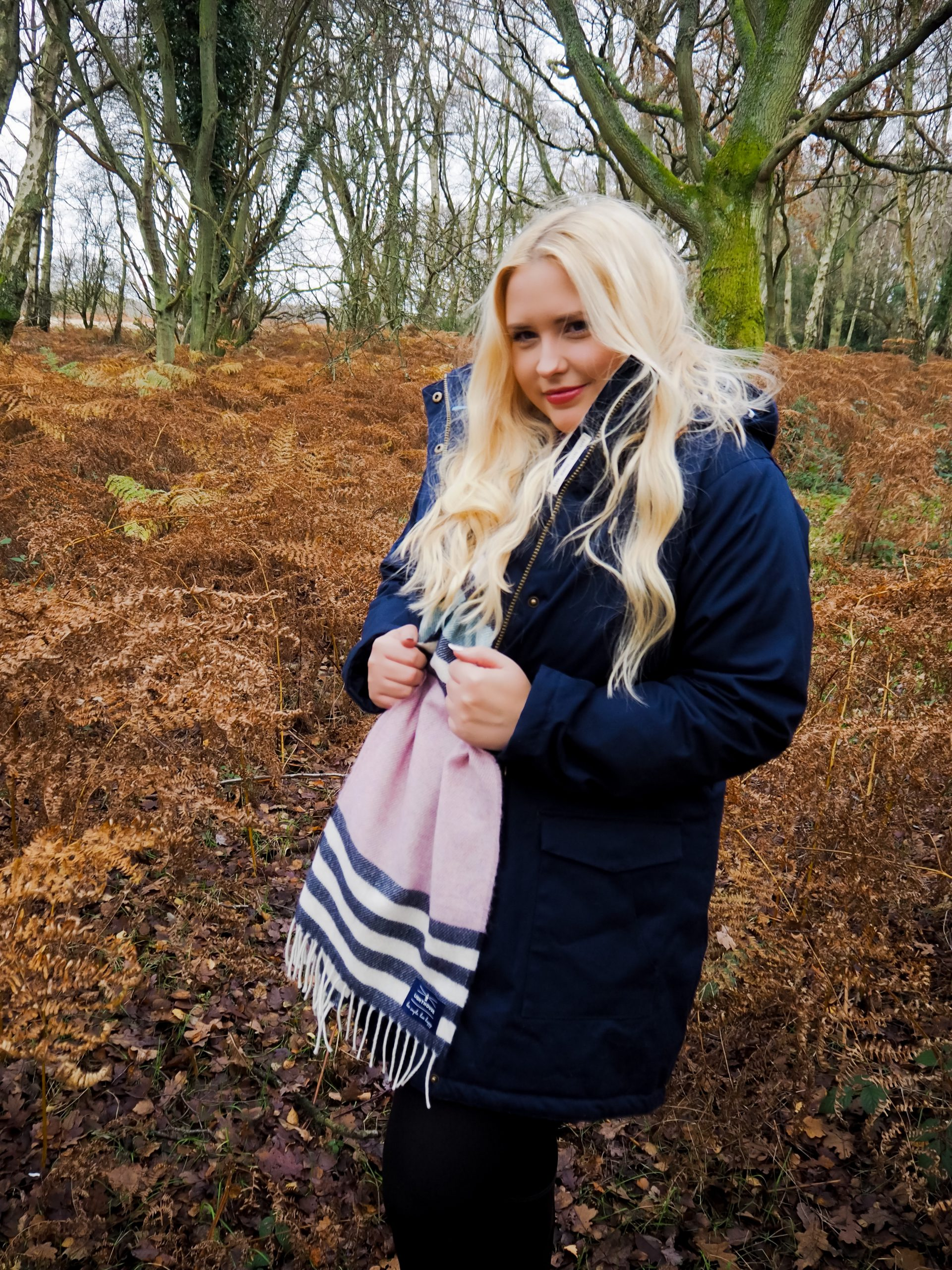 Little Blonde Blog x in Ashridge Forest in Lighthouse clothing